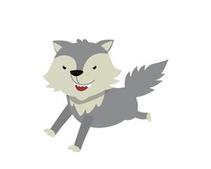 Flat Animal Character Logo - Wolf