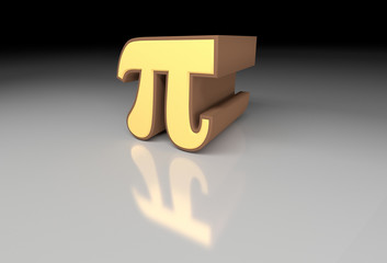 Pi number (3,14) 3d image with reflection. 3D rendering.