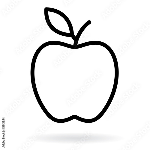 apple line drawing apple black silhouette vector