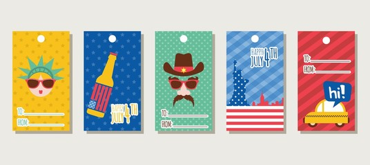 set of gift tags themed 4th of July, independence day of america