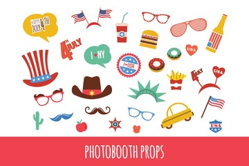 costume props for independence day of America. themed photo booth party