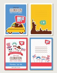 set of cards and invitations for 4th of July, independence day of America. hipster and vintage greeting cards