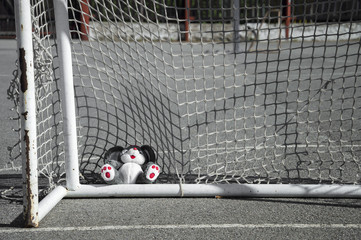 Abandoned toy in a football goal