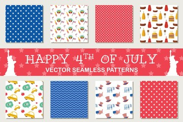 seamless patterns for independence day of America, 4th July.