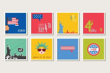 set of cards and invitations for 4th of July, independence day of USA America