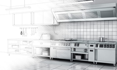 Professional kitchen and equipment on surface half-painted. View