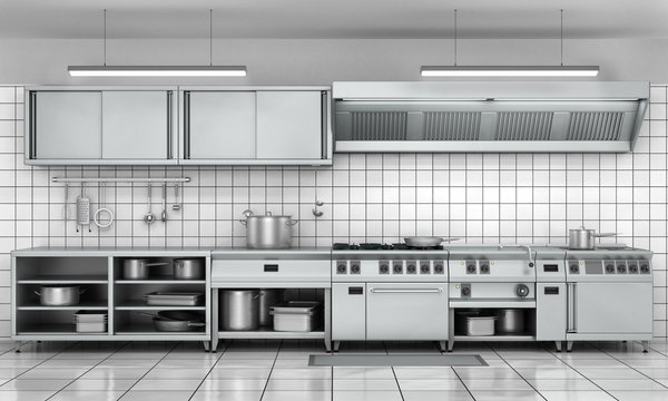 Professional kitchen facade. View surface in stainless steel.