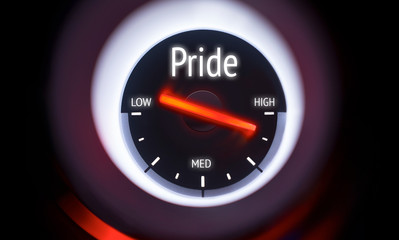 Electronic gauge displaying a Pride Concept
