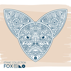Ethnic blue head of the fox. High detailed Patterned head of the fox. Decorated Fox head. Vector Illustration