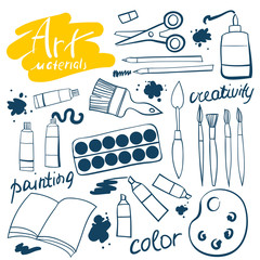 Doodle art materials collection. Hand drawn art icons set. Vector Illustration