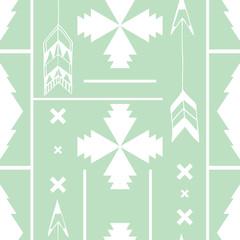 Ethnic pattern on mint background. Geometric seamless texture. Vector Illustration