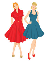 Vector illustration of pretty girls in elegant blue and red dress. Fifties style of clothes
