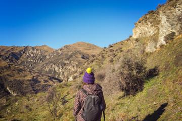 Female hiker on Moonlight Track