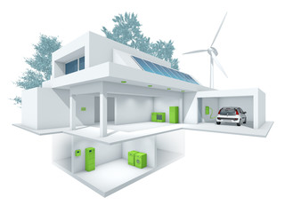 Energieeffizienz-Haus – Smart Energy: 3d-Illustration