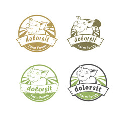 Rounded Farm food logo with happy pig. Joyful swine set in circle