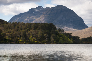 Scotland. Glen Torridon. May 2016. A photograph of Liathach, a mountain and munro in the North West Scottish Highlands, taken from Loch Clair