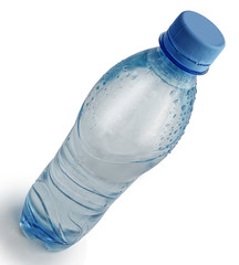 Plastic bottle with water on a white background with a shadow.