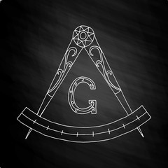 Masonic Freemasonry Emblem on chalkboard