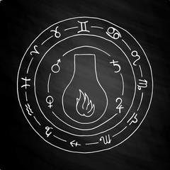 Masonic vial Emblem Icon Logo on chalkboard