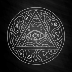 All seeing eye pyramid symbol in tattoo design on chalkboard