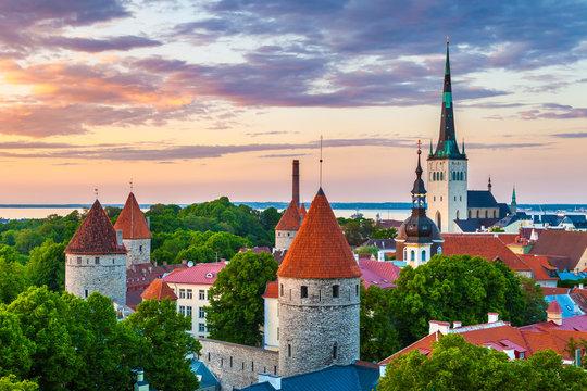 Cityscape of old town Tallinn at sundown, Estonia