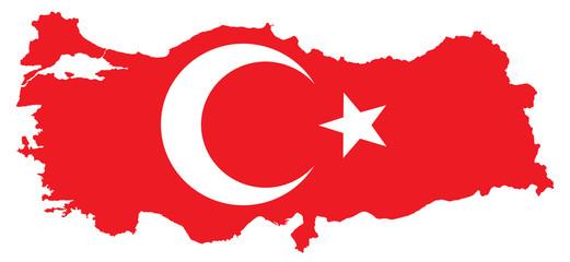 Turkey Map with Turkish Flag