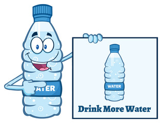 Cartoon Illustation Of A Water Plastic Bottle Mascot Character Holding And Pointing To A Banner With Text Drink More Water