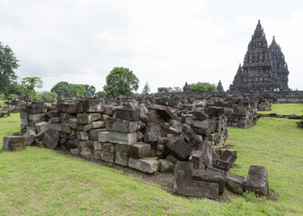 Ruins of Prambanan temple at Indonesia