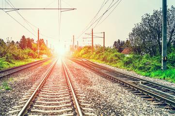 Printed roller blinds Railroad Railroad tracks at sunset