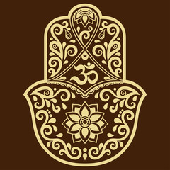 Vector hamsa hand drawn symbol. OM decorative symbol.
