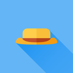 Tourist or camping hat flat icon with long shadow on blue background. Vector illustration.
