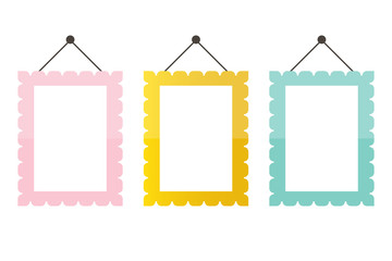 Cute pink, mint green and gold picture frame icons isolated on white background.