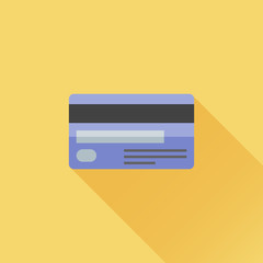 Credit card flat icon with long shadow on orange background. Vector illustration.