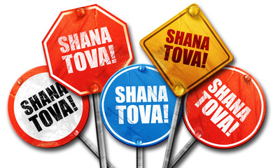 shana tova, 3D rendering, street signs