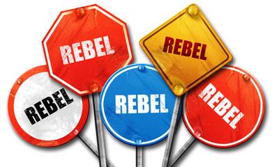 rebel, 3D rendering, street signs