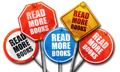read more books, 3D rendering, street signs