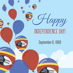 Independence Day Flat Greeting Card. Swaziland Independence Day. Swazi Flag Balloons Patriotic Poster. Happy National Day Vector Illustration.