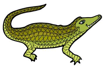 Crocodile vector. Alligator zen tangle, zen doodle, zentangle, zenart, coloring book, tatoo.
