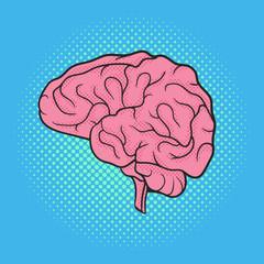 Vector hand drawn pop art illustration of brain. Retro style