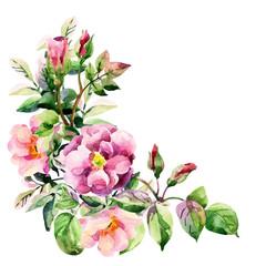 Watercolor brier flowers card