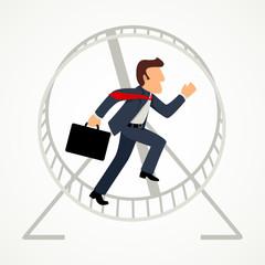 Businessman in hamster wheel