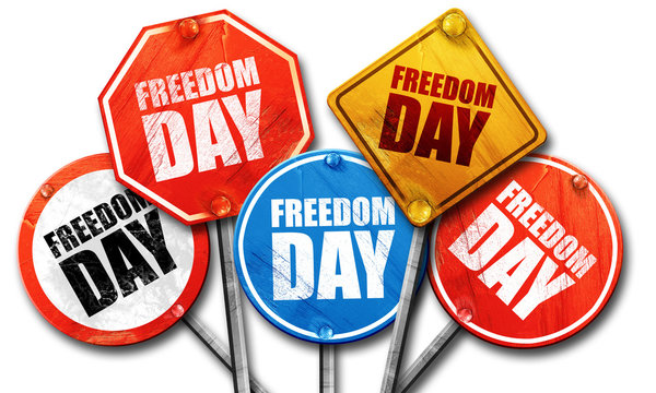 freedom day, 3D rendering, street signs