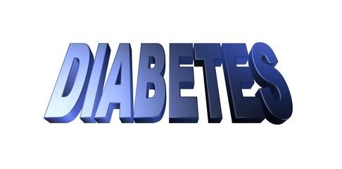 3D diabetes text on white background