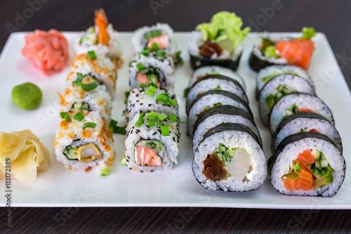 sushi set with chopsticks on the plate stockfotos und lizenzfreie bilder auf. Black Bedroom Furniture Sets. Home Design Ideas