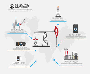Oil industry processing and transportation infographics set production elements.
