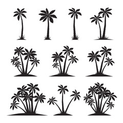 Set of Black Palm Trees. Vector illustration on white background