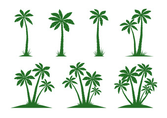 Set of Palm Trees. Vector illustration on white background.