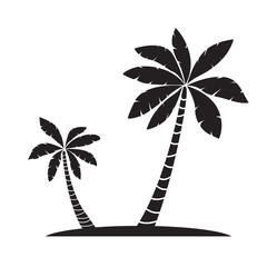 Palm trees silhouettes vector illustration isolated on white bac