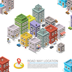 Road in the cityscape Isometric, City location apartment, Vector background