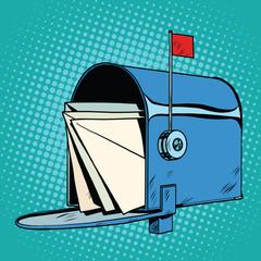 Retro letter box realistic drawing